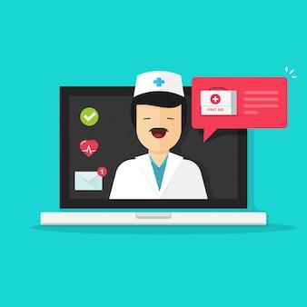 Médico consultoria on-line no computador portátil, respondendo a ilustração em desenhos animados plana