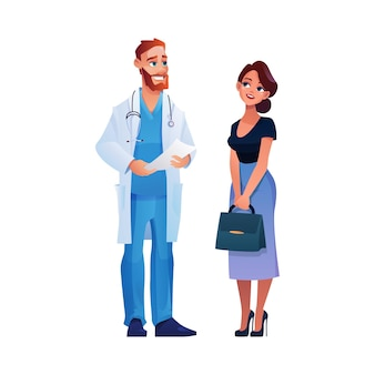 Médico conversando com mulher, consulta e discussão sobre histórico de doenças e doenças