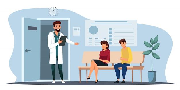 Médico convida paciente a entrar em seu gabinete
