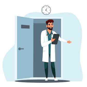 Médico convida paciente para entrar no consultório médico