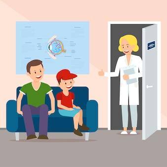 Médico convidando o pai com o filho para verificar a visão