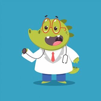 Médico crocodilo infantil com personagem médico engraçado dos desenhos animados de vetor de estetoscópio isolado.