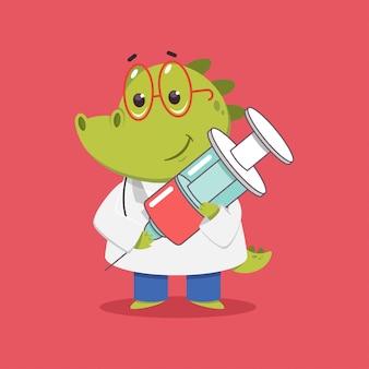 Médico crocodilo infantil com personagem médico engraçado dos desenhos animados de vetor de seringa isolado.