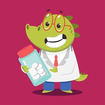 Médico crocodilo infantil com pílulas cartoon personagem médico engraçado isolado no fundo.