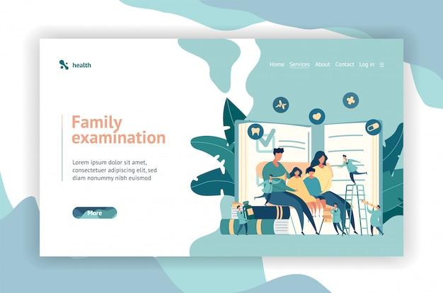 Médico da família. pediatra. conceito de design de página da web.