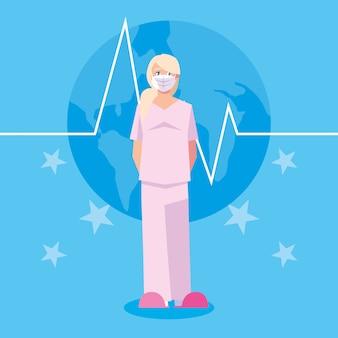 Médico da mulher com máscara na frente do pulso e estrelas vector design