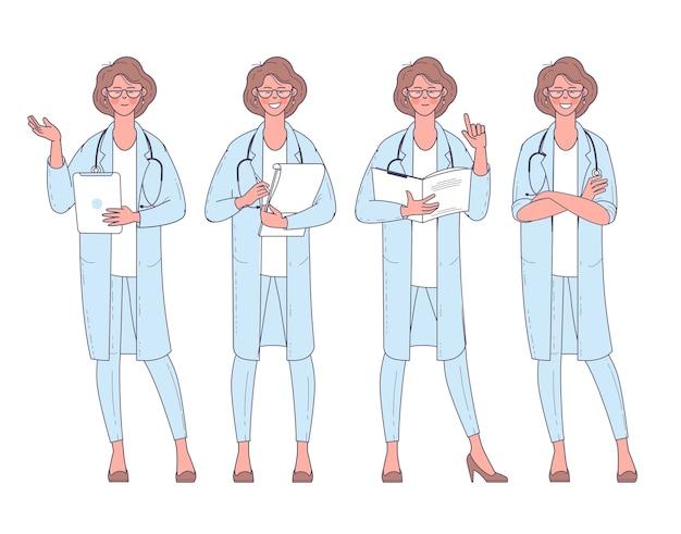 Médico da mulher design plano com conjunto de ações e poses de personagem do estetoscópio.