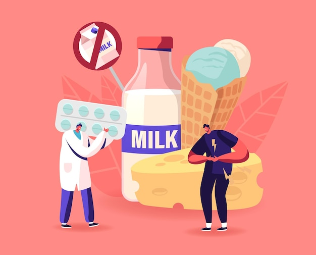 Médico dá pílulas ao paciente para tratar alergia em alimentos lácteos, intolerância à lactose