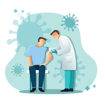 Médico dando vacina ao paciente, conceito de medicina e saúde