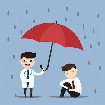 Médico de assistência médica levantar um guarda-chuva.