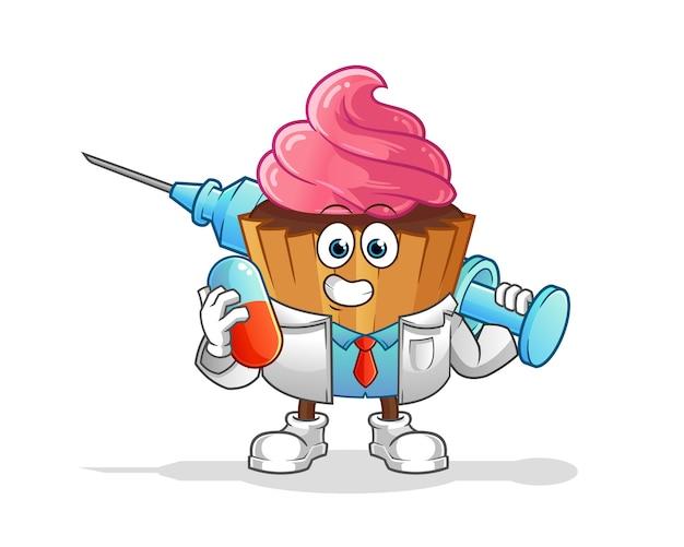 Médico de bolo de copo segurando medichine e personagem de desenho animado de injeção