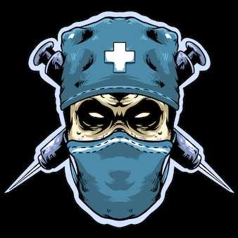 Médico de caveira com mascote do logotipo de injeção