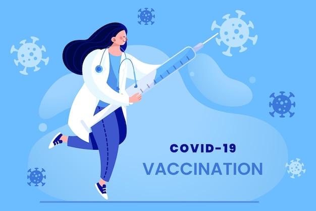 Médico de desenho animado com vacina contra coronavírus