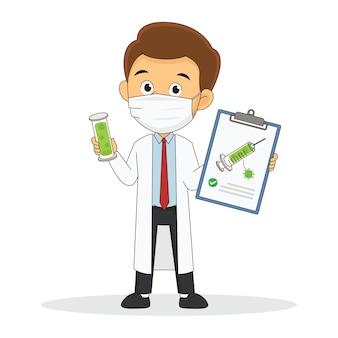 Médico de desenho animado segurando uma vacina protetora com corona covid-19