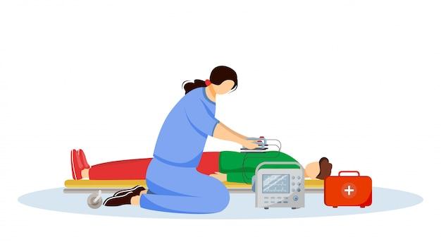 Médico de emergência dando primeiros socorros com ilustração plana desfibrilador. paramédico, médico e personagens de desenhos animados de pacientes feridos Vetor Premium