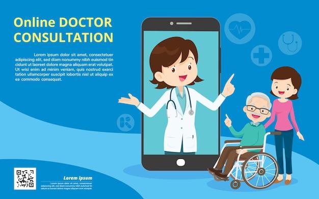 Médico de família do aplicativo móvel. família usando aplicativo móvel