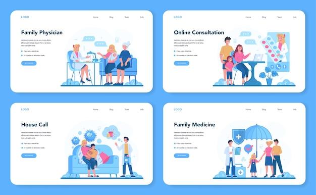 Médico de família e banner da web de saúde geral ou conjunto de páginas de destino.