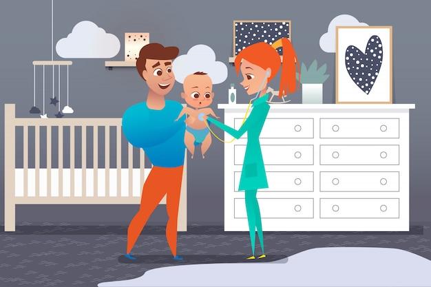 Médico de família mulher ouvindo o estetoscópio do bebê nas mãos do pai. pai com criança e médico em casa no quarto das crianças