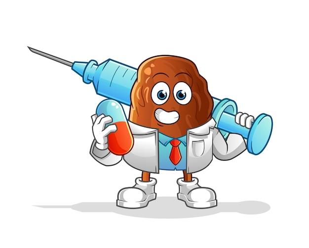 Médico de frutas com tâmaras segurando uma ilustração de medicamentos e injeção