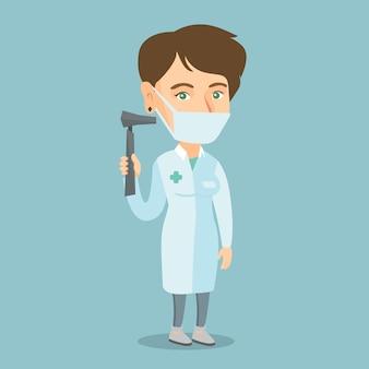 Médico de garganta do nariz caucasiano jovem ouvido.