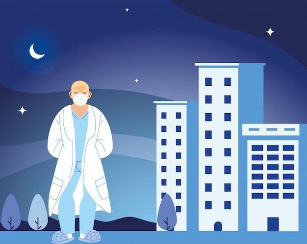Médico de homem com máscara na frente do hospital, construção de projeto de cuidados médicos e tema de vírus covid 19