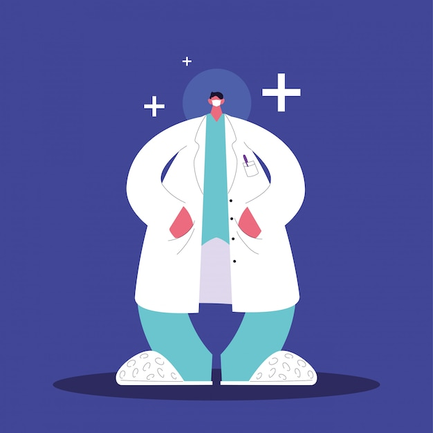 Médico de homem em pé, equipe médica