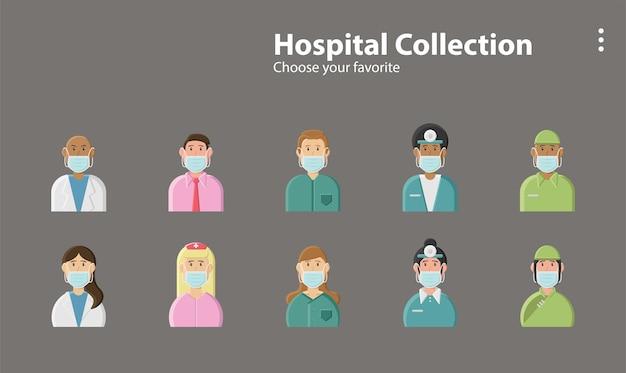 Médico de hospital enfermeira vírus máscara pandêmica saúde covid corona ilustração personagem de fundo