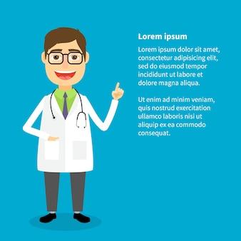 Médico de jaleco branco com modelo de mão levantada
