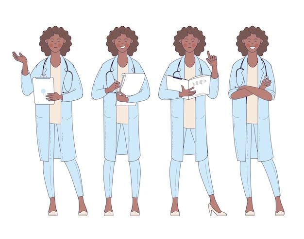 Médico de mulher afro-americana de design plano com conjunto de poses e ações de personagem do estetoscópio.
