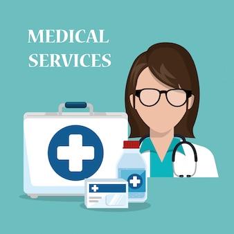 Médico de mulher com ícones de serviços médicos