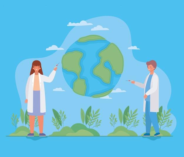 Médico de mulher e homem com injeção e mundo contra