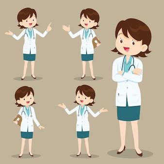 Médico de mulher inteligente, apresentando-se em várias ações