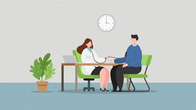 Médico de mulher verificando pacientes, ilustração em vetor plana