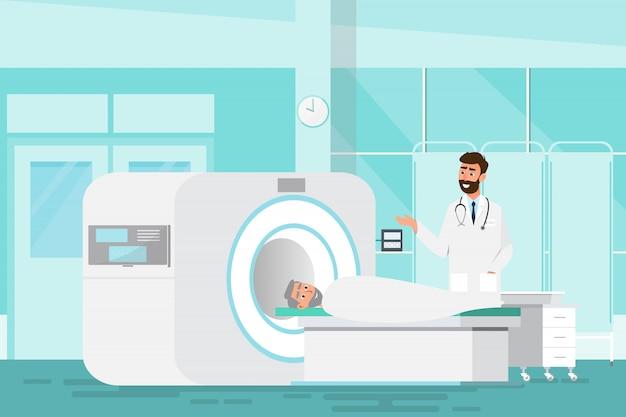 Médico de pé e homem deitado para raio-x com máquina de scanner de ressonância magnética