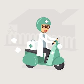 Médico de plantão andando de moto para a casa do paciente