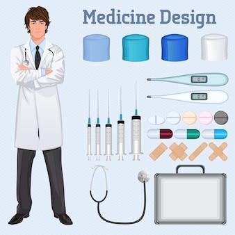 Médico de saúde jovem e bonito em brasão de laboratório branco cruzado com o acessório médico conjunto conceito poster