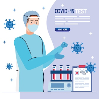 Médico de teste de vírus covid 19 com tubos de máscara uniforme e design de documento médico de tema ncov cov e coronavírus