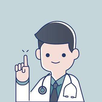 Médico, dedo apontando, cima, para, tela, com, estetoscópio