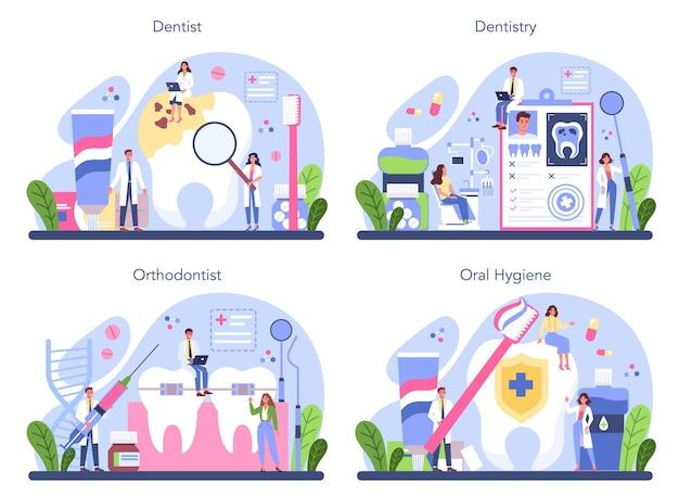 Médico dentista uniformizado tratando de dentes humanos com equipamentos médicos