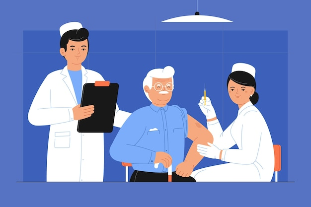 Médico desenhado à mão espalmada injetando vacina em um paciente
