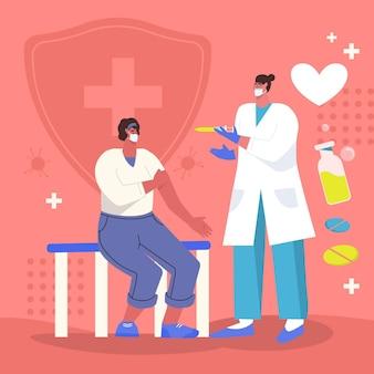 Médico desenhado à mão espalmada injetando vacina no paciente