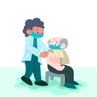 Médico desenhado à mão injetando vacina em um paciente