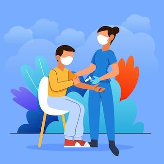 Médico desenhado à mão plana injetando vacina em uma ilustração de paciente
