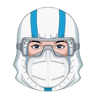 Médico desenhado à mão usa uma roupa de proteção e máscara