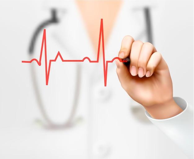 Médico desenho cardiograma de mão.