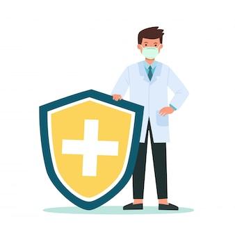 Médico detém escudo cobrindo de vírus e bactérias. proteção contra vírus de bactérias da saúde. médico saudável refletir ataque de bactérias com escudo. aumentar a imunidade com ilustração do conceito de medicina.