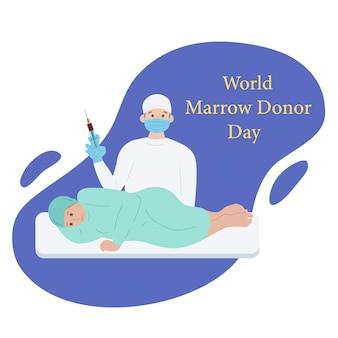 Médico do dia mundial do doador de medula óssea com paciente