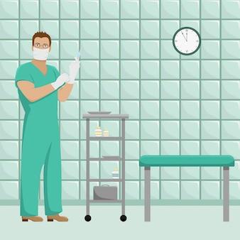 Médico do homem em forma de trabalho em luvas estéreis e máscara na sala de tratamento