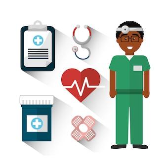 Médico do hospital com seu ícone de ferramentas