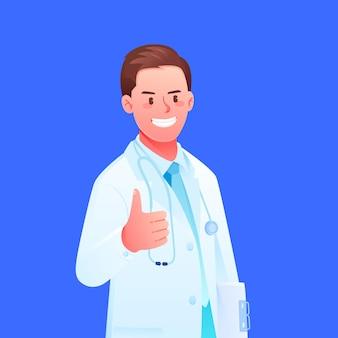 Médico do hospital de desenho animado com jaleco branco polegar para cima material de ilustração vetorial